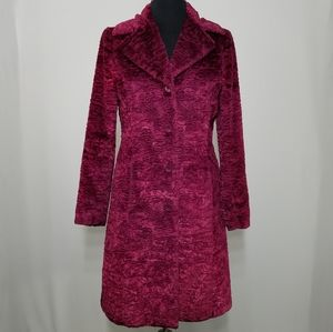Bebe Coat Furry Textured Button Mid Length Small